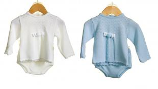 Knitted 2 Piece Baby Outfit Blue White