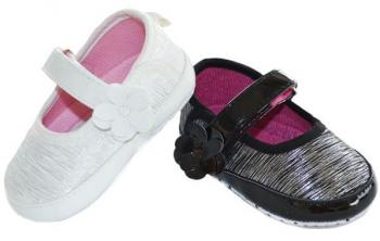 Shiny Striped Infant Shoes with Velcro Strap and Flower