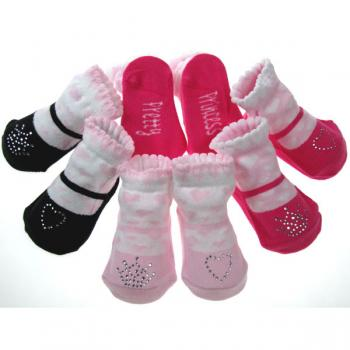 Diamante Trim Gift Socks Heart Crown Design Baby Socks 0-6m