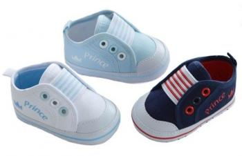 Trainer Infant Shoes Cotton Twill  Prince Crown Print