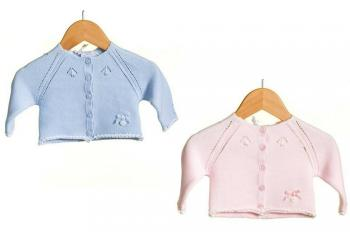 Baby Girls Boys Knitted Cardigan Blue or Pink