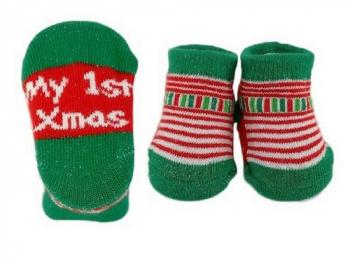 Baby Christmas Bootee Socks 0-6 months