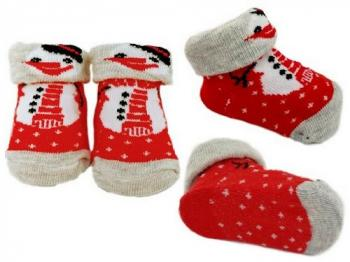 Baby Snowman Bootee Socks 0-6 months